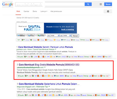 Blog caramembuatwebsitepemula.com Terindek Rangking 2 di Search Engine Google