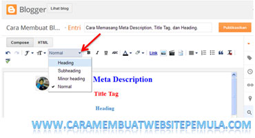 Cara Memasang Heading Tag di Blog