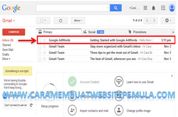 klik inbok gmail dari google adwords