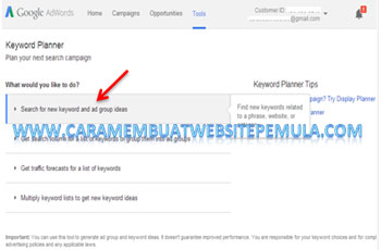 klik Search for new keyword and ad group ideas